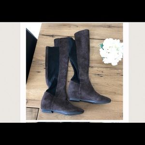 Nine West brown/black suede over the knee boot